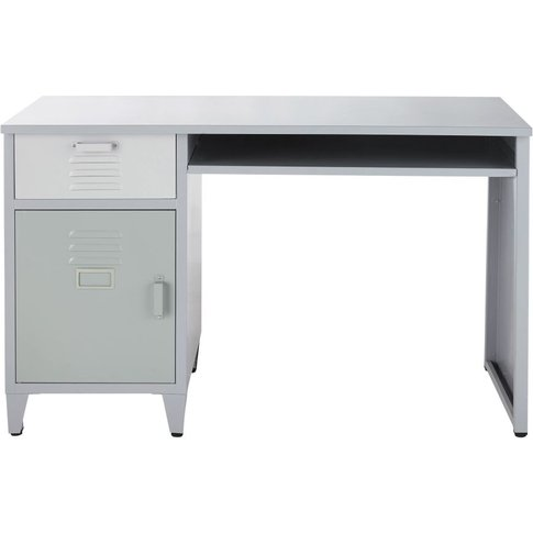 Grey, White And Green Metal 1-Drawer 1-Door Desk Dino