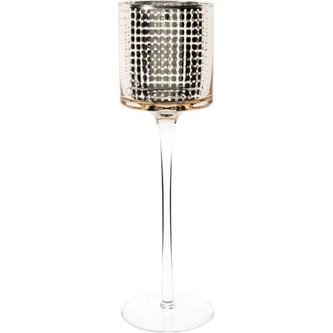 Hexagones Stemmed Glass Candle Holder H 30 Cm
