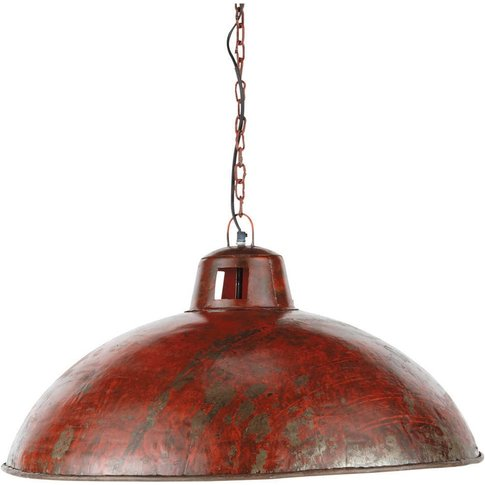 Industrial Red Metal Pendant Lamp With Rust Effect