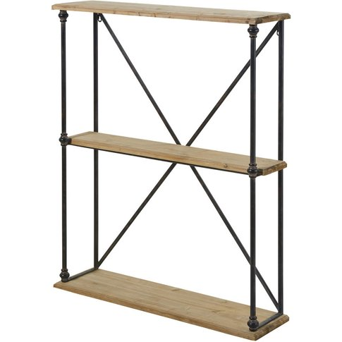 Industrial-Style Fir and Metal Shelving Unit