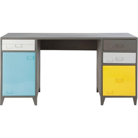 Industrial-Style Grey Metal 1-Door 4-Drawer Desk Espace