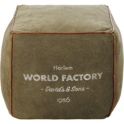 Industrial-Style Khaki Cotton Pouffe