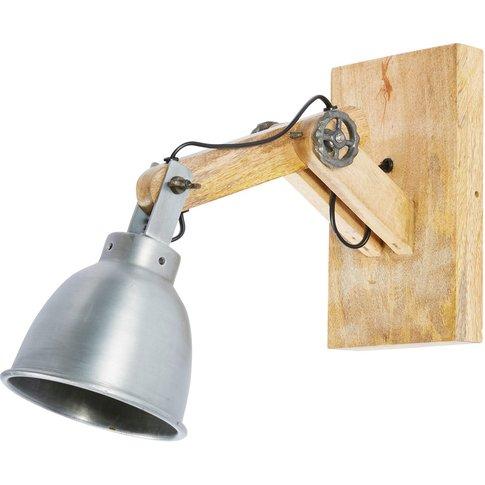 Industrial-Style Metal and Mango Wood Adjustable Wal...