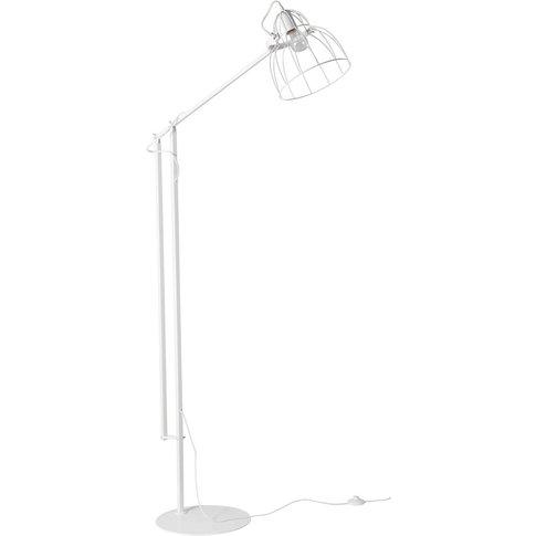 Industrial-Style White Metal Floor Lamp H 183 cm