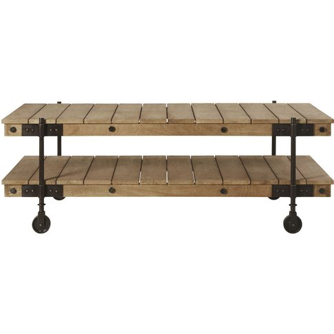 Industrial Wheeled Coffee Table In Mango Wood And Bl...