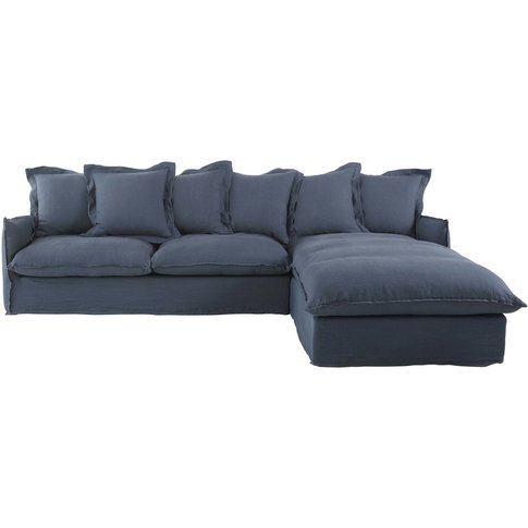 Ink Blue 6-Seater Washed Linen Right-Hand Corner Sof...