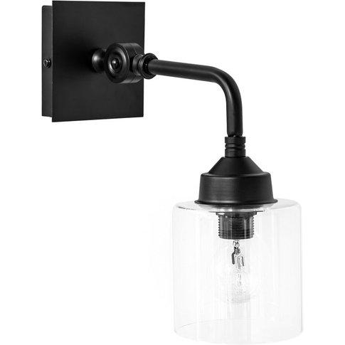 ISAAC BLACK glass and black metal wall light