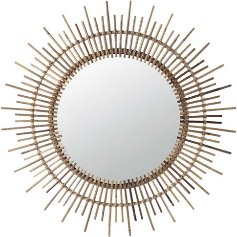 Isis Round Mirror, Bamboo D 90cm