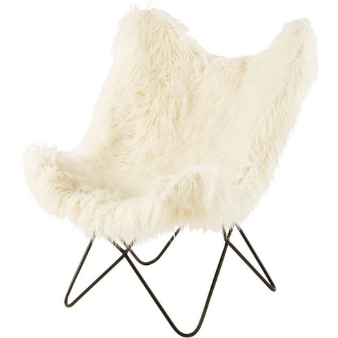 Ivory Faux Fur Armchair  Grizzli