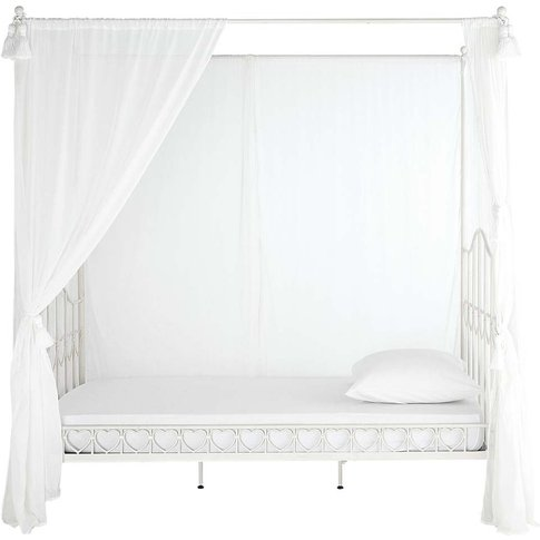 Ivory Metal Four-Poster Bed 90x190 Eglantine