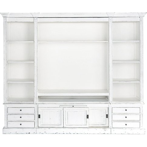 Ivory Recycled Solid Pine TV Unit Bookcase Passy