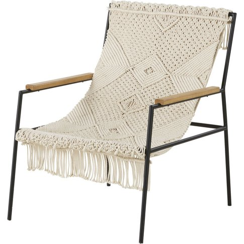 Ivory Woven Cotton Armchair Wellbe