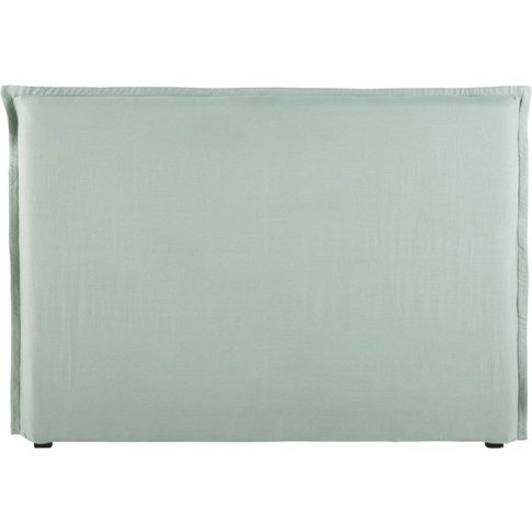 Jade Green Washed Linen Headboard Cover 140