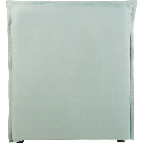 Jade Green Washed Linen Headboard Cover 90