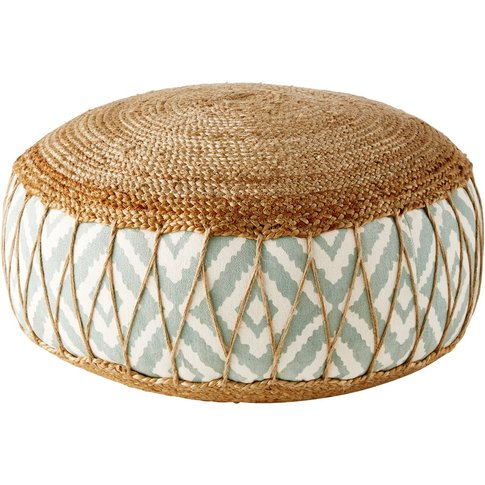 Jute and Cotton Pouffe with Graphic Motifs