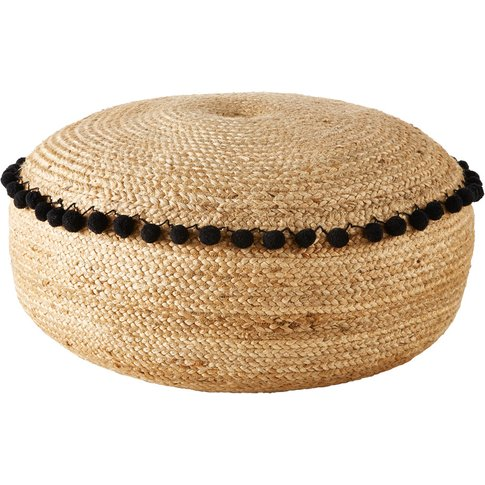 Jute Pouffe With Black Pompoms