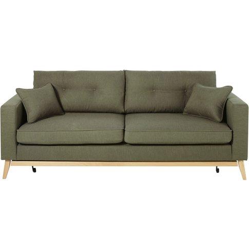 Khaki Green 3-Seater Scandinavian-Style Sofa Bed Brooke