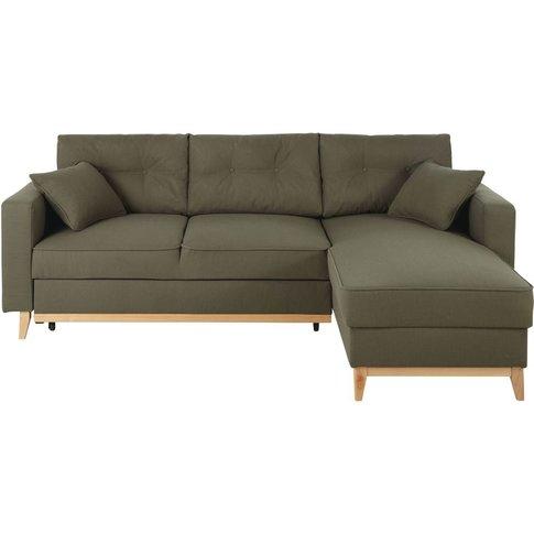 Khaki Green 4/5-Seater Corner Sofa Bed Brooke