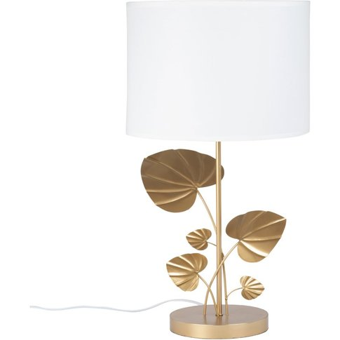 Leaf Lamp In Gold Metal With White Shade