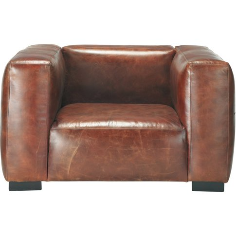 Leather armchair in brown John