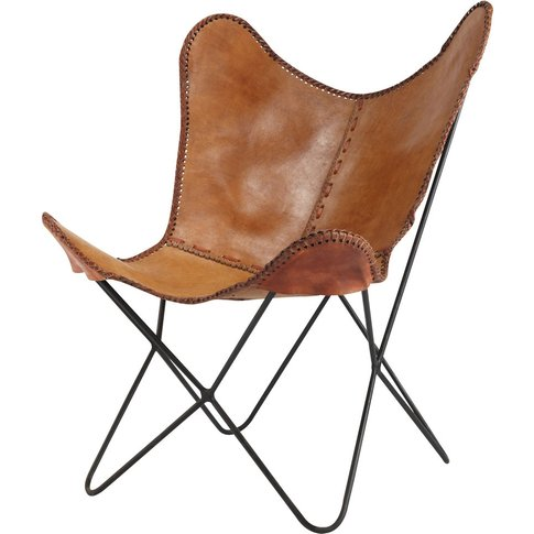 Leather armchair in camel Santiago