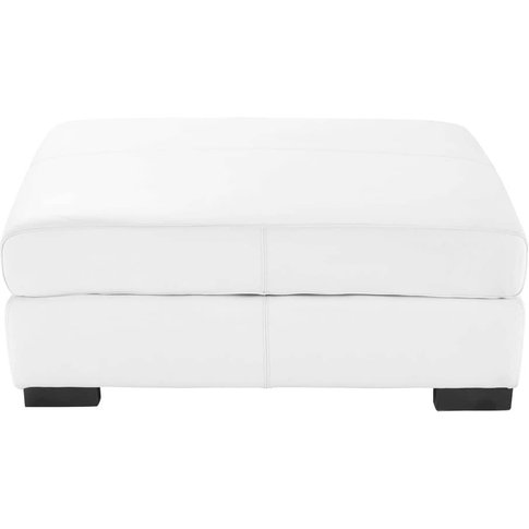 Leather modular pouffe in white Terence