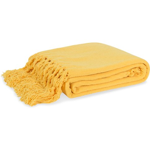 Lemon Yellow Fringed Blanket 125x150