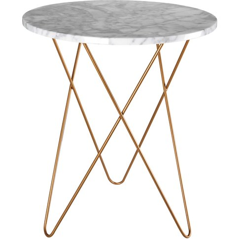 Light-Coloured Marble And Gold Metal Side Table