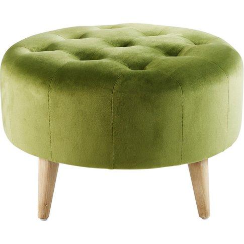 Light Green Velvet Quilted Footrest Pouffe