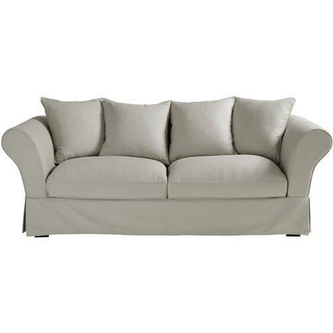 Light Grey 3/4 Seater Cotton Sofa Bed Roma