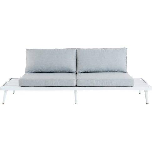 Light Grey 3-Seater Resin Wicker Garden Sofa Bench W...