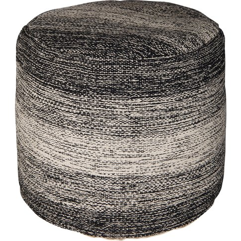 Light Grey And Mottled Black Fabric Pouffe