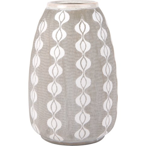 Light Grey Ceramic Vase With Global Print H33