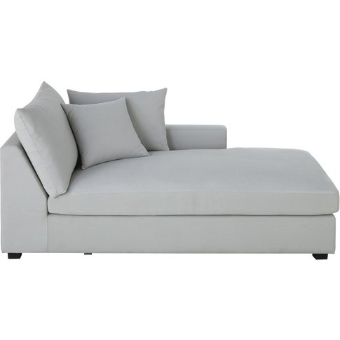 Light Grey Cotton Right-Hand Chaise Longue Rhodes