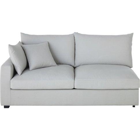 Light Grey Cotton Sofa Bed With Left Armrest Rhodes