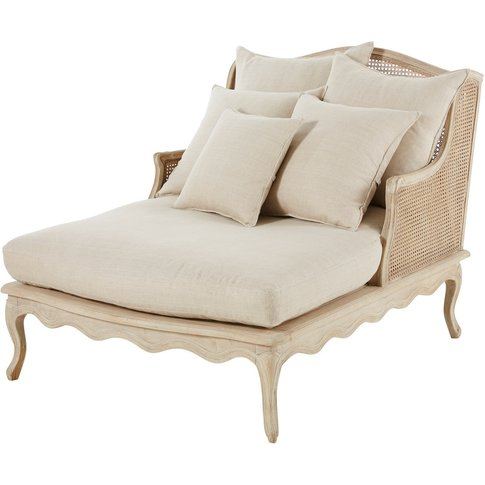 Light Grey Linen and Rattan Chaise Longue Meredith