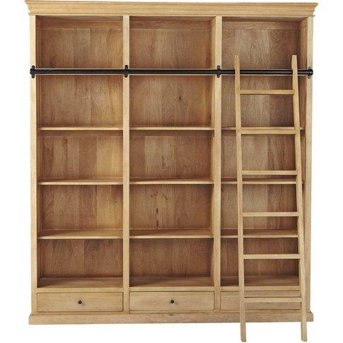 Mango Wood 3-Drawer Bookcase With Ladder Naturaliste