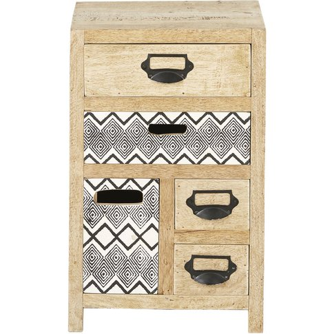 Mango Wood 5-Drawer Side Table With Print