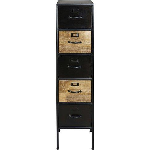 Mango Wood And Black Metal 5-Drawer Storage Cabinet ...