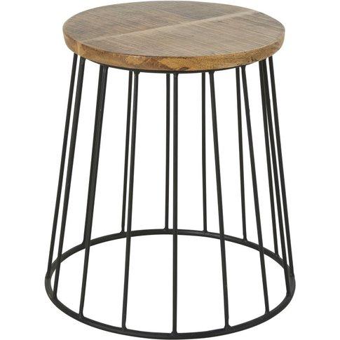 Mango Wood And Black Metal Side Table H40