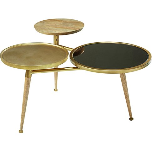 Mango Wood And Gold Metal Coffee Table Gatsby