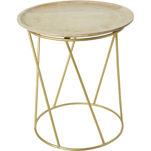 Mango Wood And Gold Metal Side Table