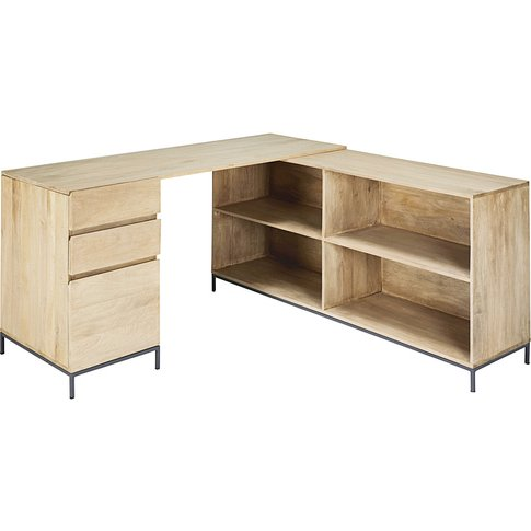 Mango Wood and Metal 1-Door 2-Drawer Corner Desk Wilson