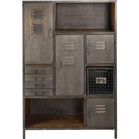 Mango Wood And Metal 4-Door 4-Drawer Storage Cabinet...