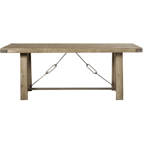 Mango Wood And Metal 8-10 Seater Industrial Dining T...
