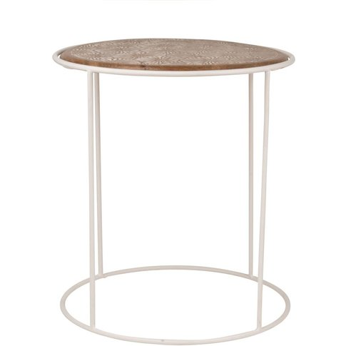 Mango Wood And Metal Side Table