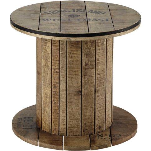 Mango wood cable reel side table D 50cm Sailor