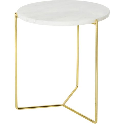 Marble And Gold Metal Side Table
