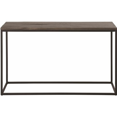Matte Black Metal And Solid Mango Wood Console Table...