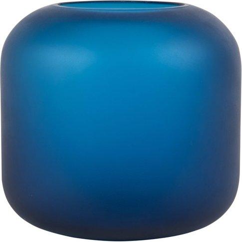 Matte Blue Glass Vase H16